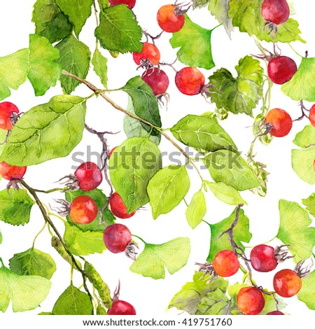 Green leaves and berries. Seamless pattern. Watercolor - stock photo