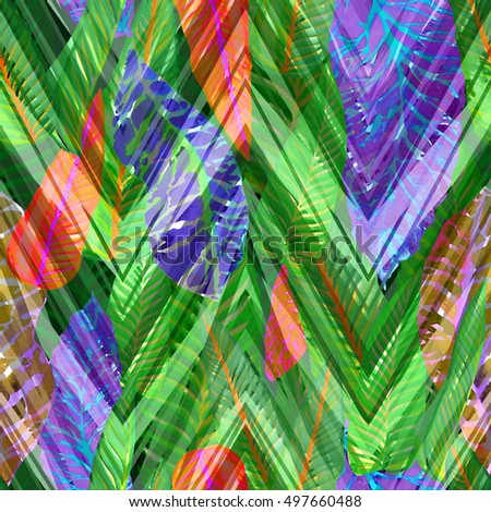 Green leaves background on a geometric pattern. Modern floral background. Tropical floral plants on a zigzag ornament.