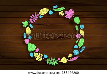 Green leaves  border. Round frame and circle, arranged by green foliage garland. Maple and oak leaves, strawberry plant. Classical forest frames as symbol of nature, spring, summer. Raster version. - stock photo