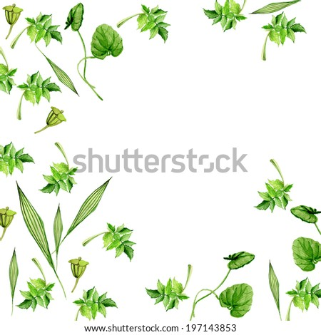 Green leaves, hand drawn watercolor background