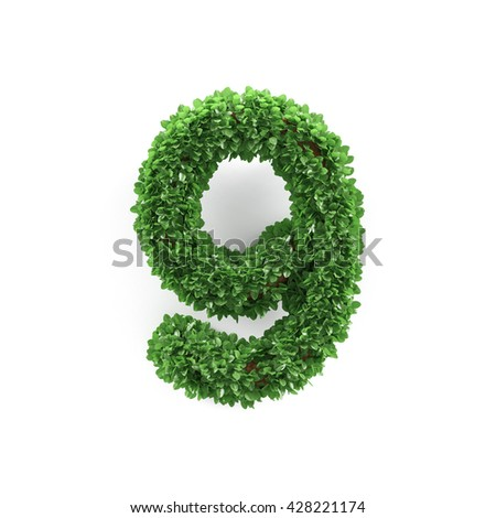Green leaves 9 nine ecology digits alphabet font isolated on white background. 3d rendering - stock photo