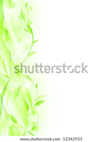Green leaves with bubbles and copyspace for your text. EPS 10 - stock photo