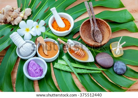 Green leaves with nature spa ingredient turmeric powder in white mortar ,ginger,herbal compress ball,honey,soap ,lavender scub,cinnamon powder ,wooden bowl ,wooden spoon and aloe vera. - stock photo