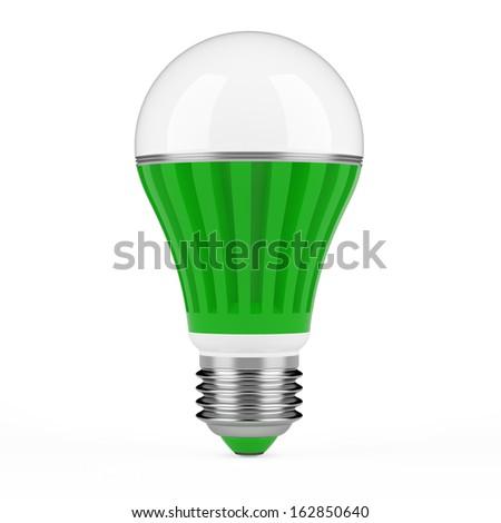 Green LED lamp isolated on white background. - stock photo