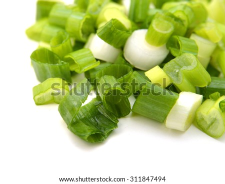 Green Leek Isolated on White Background  - stock photo