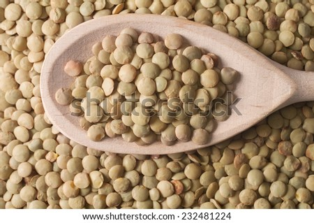 Green lentils in a wooden spoon on green lentils background. - stock photo