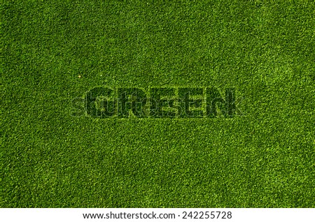 green letter on green grass texture background - stock photo