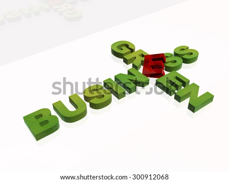 Green letters on white background - business metaphor.