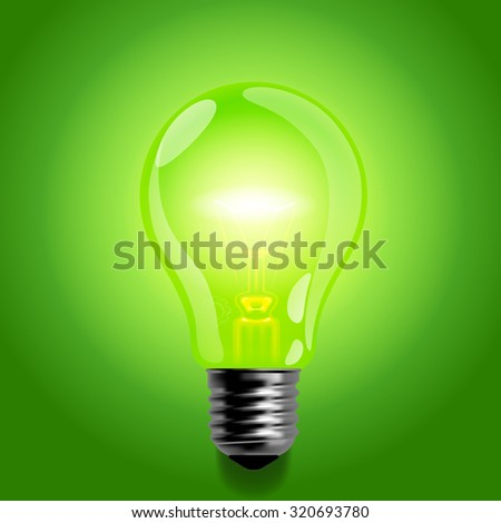 Green light bulb.  Business idea symbol and business concept