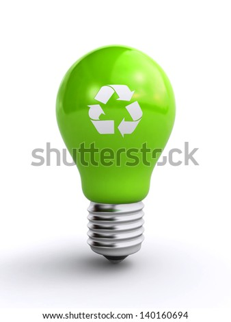 green light bulb with recycle symbol - stock photo