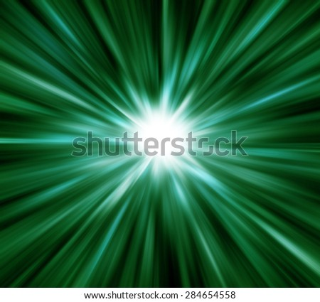 Green light explosion effects background - stock photo