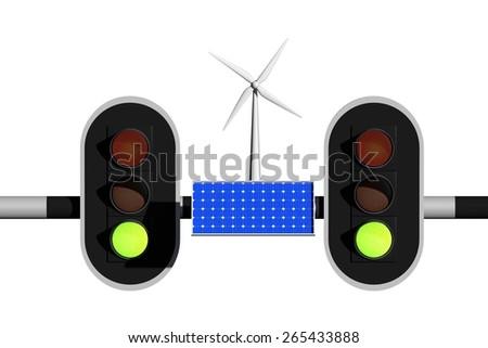 green light for green energy - stock photo
