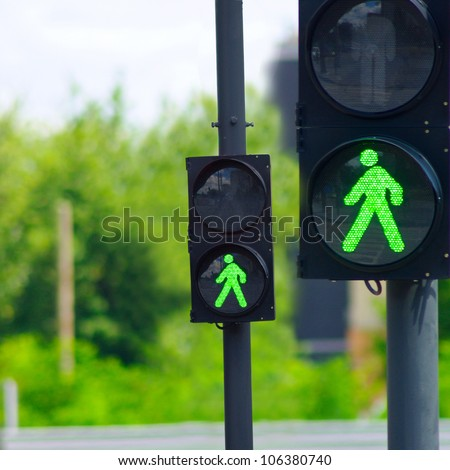green light for two traffic lights - stock photo