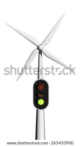 green light for wind energy - stock photo