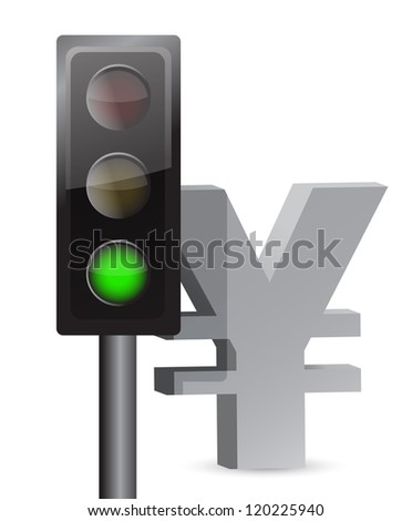 green light on yen concept illustration design over white - stock photo