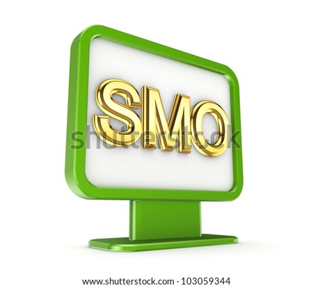 Green lightbox with a golden word SMO.Isolated on white background.3d rendered. - stock photo