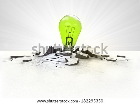 green lightbulb stuck into ground with flare concept illustration - stock photo