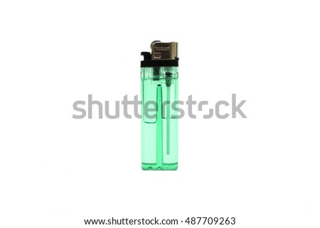Green lighter isolated on white background. Blue lighter