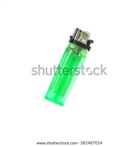 Green lighter on white background - stock photo