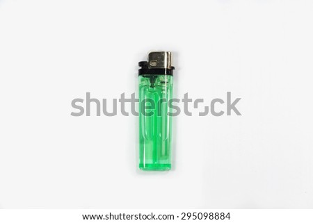 Green Lighters Isolated white background - stock photo