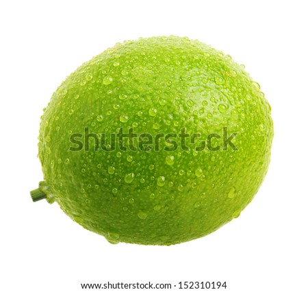 Green lime with water drops isolated on white background - stock photo