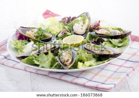 green lipped mussels from new zealand with salad and lemon on a plate - stock photo