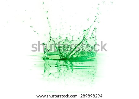 green liquid splash on white background - stock photo
