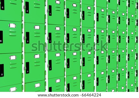 green lockers without key - stock photo