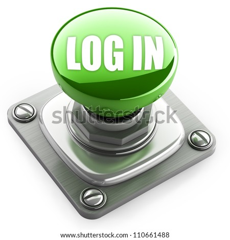 green login button closeup isolated on white. High resolution. 3D image