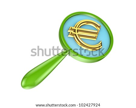 Green loupe and golden euro sign.Isolated on white background.3d rendered. - stock photo