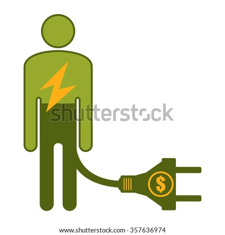 Green Low Battery Businessman With Dollar Currency Cash Power Cable Infographics Flat Icon, Sign Isolated on White Background - stock photo