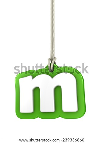 Green lowercase letter M hanging on rope with clipping path - stock photo