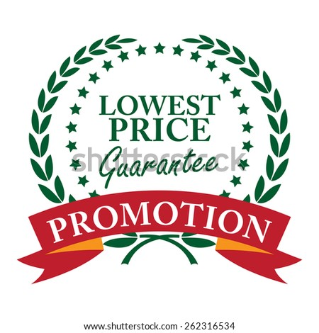 Green Lowest Price Guarantee Promotion Wheat Laurel Wreath, Ribbon, Label, Sticker or Icon Isolated on White Background - stock photo