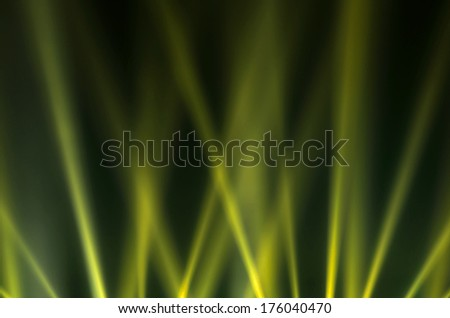 Green luminous rays on a dark background - stock photo