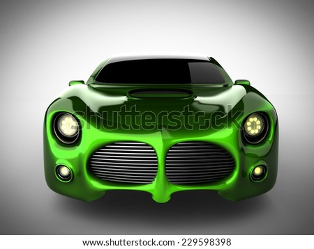 green luxury brandless sport car on white background - stock photo