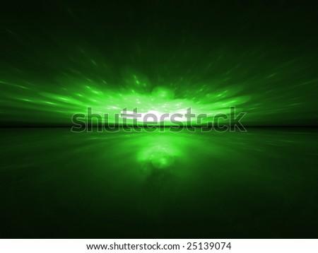 Green Magic - 3D Fractal Landscape - stock photo