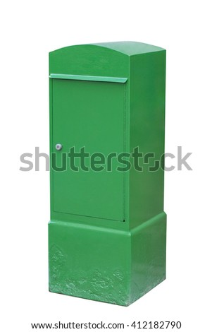 green mailbox isolated on white background - stock photo