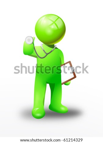 green man doctor examine a heart  with stethoscope