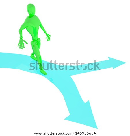 Green man on blue arrows choices way for himself 3d rendered - stock photo