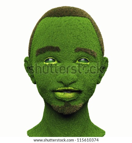 green man with face, covered with grass