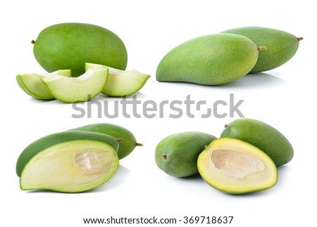 green mango on white background