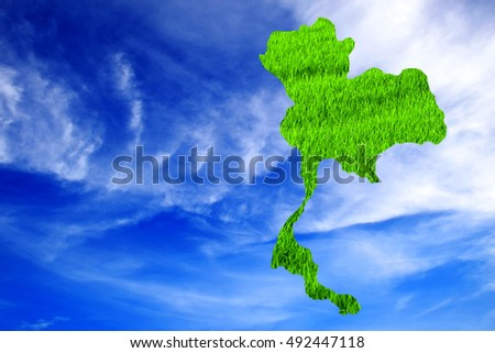 Green map of Thailand on colorful sky