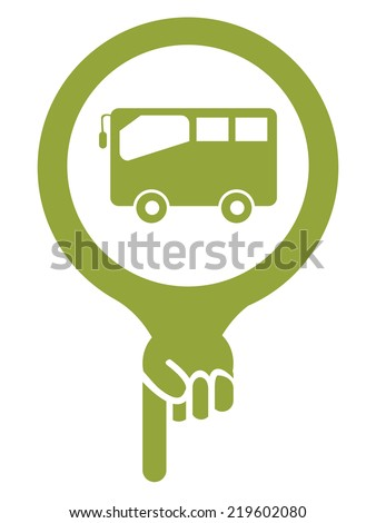 Green Map Pointer Icon With Bus, Bus Stop, Bus Station or Bus Rental Service Sign Isolated on White Background  - stock photo