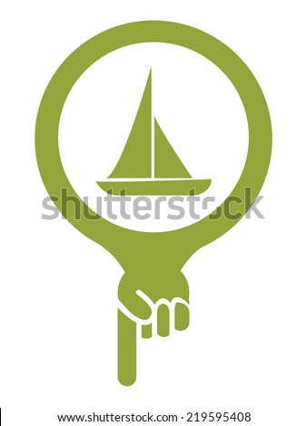 Green Map Pointer Icon With Sailboat, Seaport, Sea Transportation, Sea, Beach, Ocean or Bay Sign Isolated on White Background  - stock photo