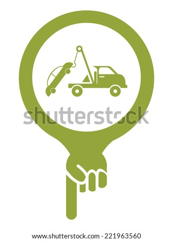 Green Map Pointer Icon With Tow Car Service Sign Isolated on White Background  - stock photo