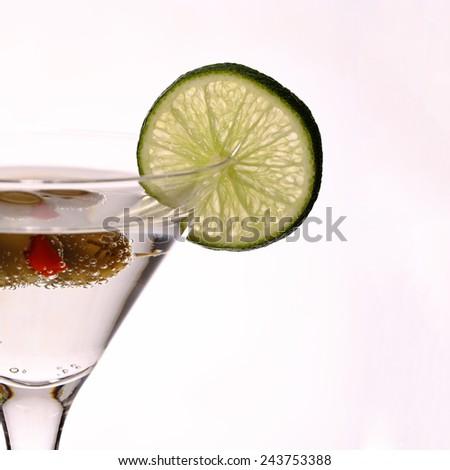 green margareta fresh Cocktail isolated on black, studio - stock photo