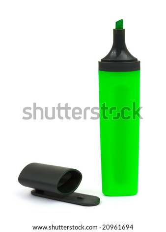 Green marker and cap isolated on white background - stock photo