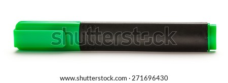 Green marker on the white background horizontal - stock photo