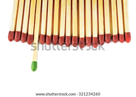 Green matchstick leadership concept isolated on white - stock photo