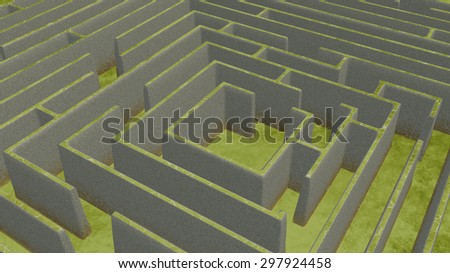 Green Maze from above - stock photo